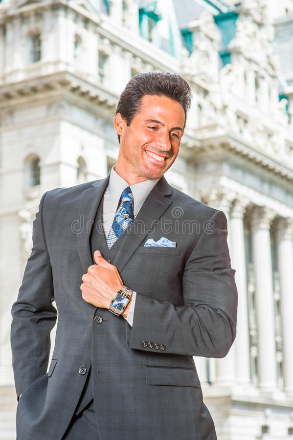 Portrait of Happy, Handsome, Middle Age American Businessman in stock photo