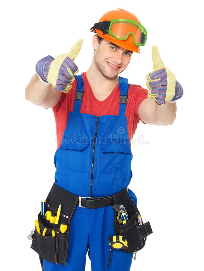 Download Handyman With Tools Showing Thumbs Up Sign Stock Image - Image: 29858561