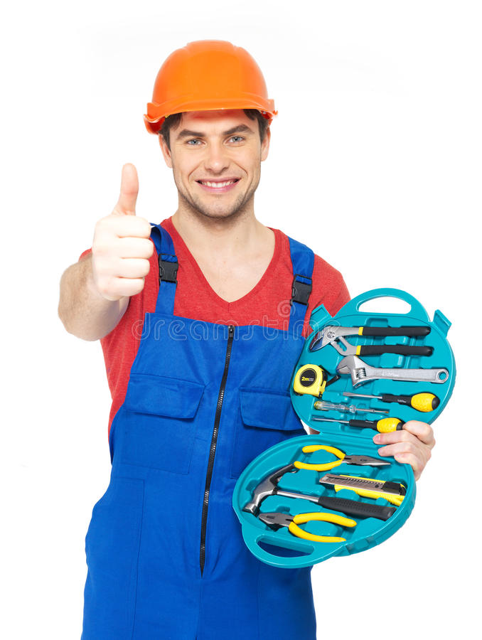 Download Handyman With Tools Showing Thumbs Up Sign Stock Image - Image: 29858677