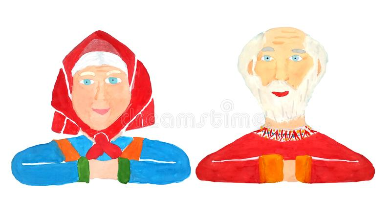 Portrait of a happy and healthy grandfather and grandmother with gray hair and bright clothes on a white background, isolated as a vector illustration