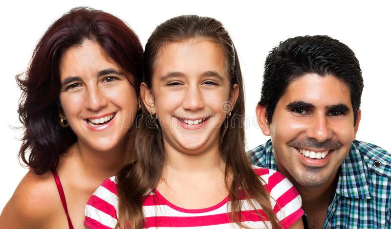 Portrait of a happy hispanic family stock image