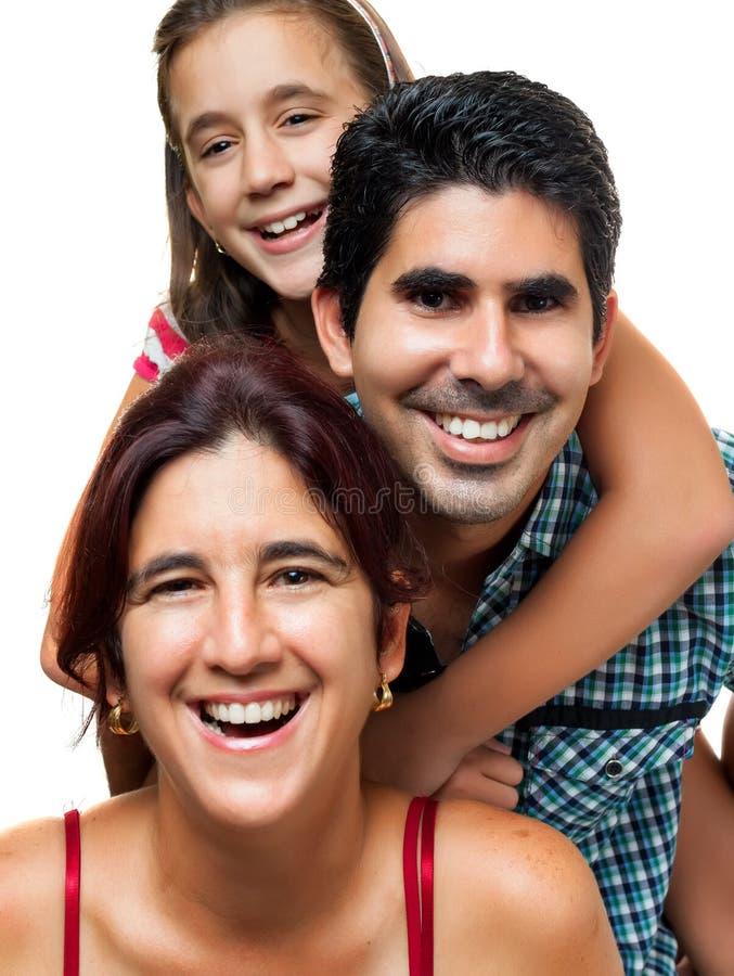 Portrait of a happy hispanic family royalty free stock photo