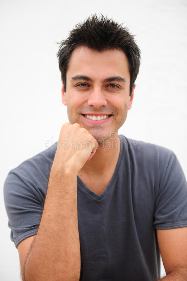 Portrait of a happy hispanic man royalty free stock photography