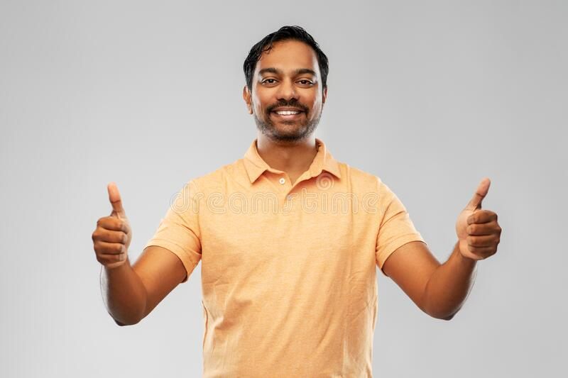 Portrait Of Happy Indian Man Showing Thumbs Up Stock Image - Image of  tshirt, people: 191878081