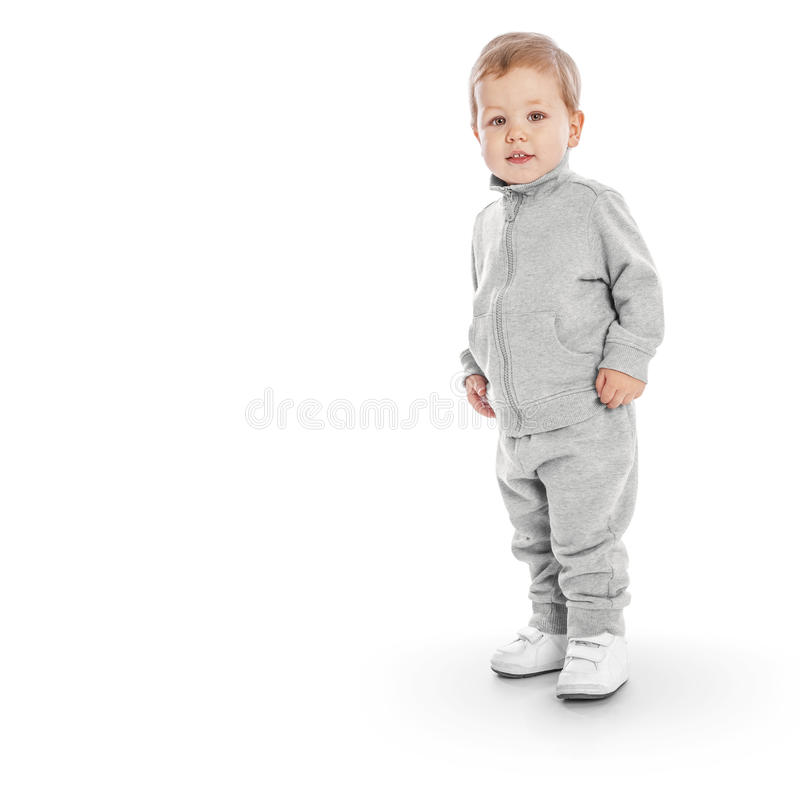 Portrait of happy joyful beautiful little boy stock photography