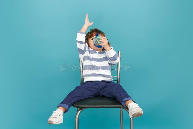 Portrait of happy joyful beautiful little boy, studio shot royalty free stock images