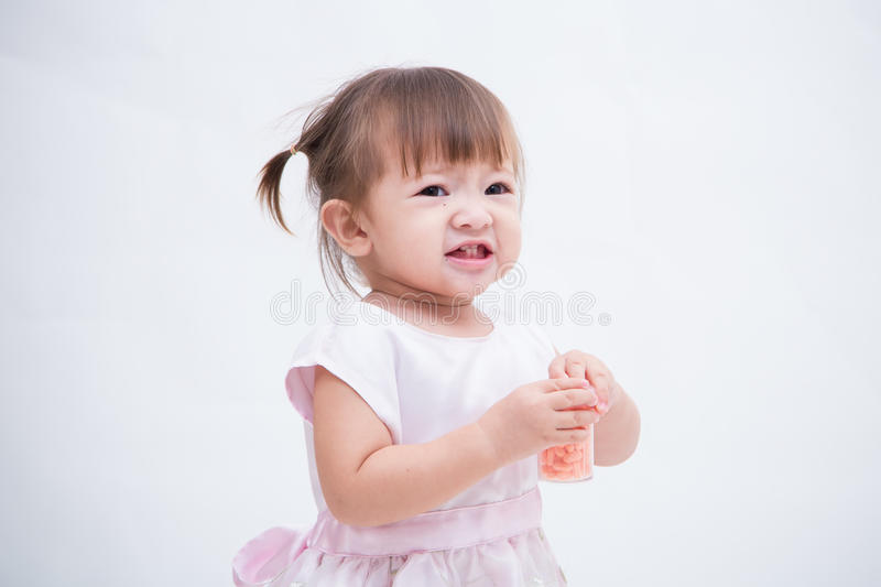 Portrait of happy joyful laughing smiling baby isolated on white royalty free stock images