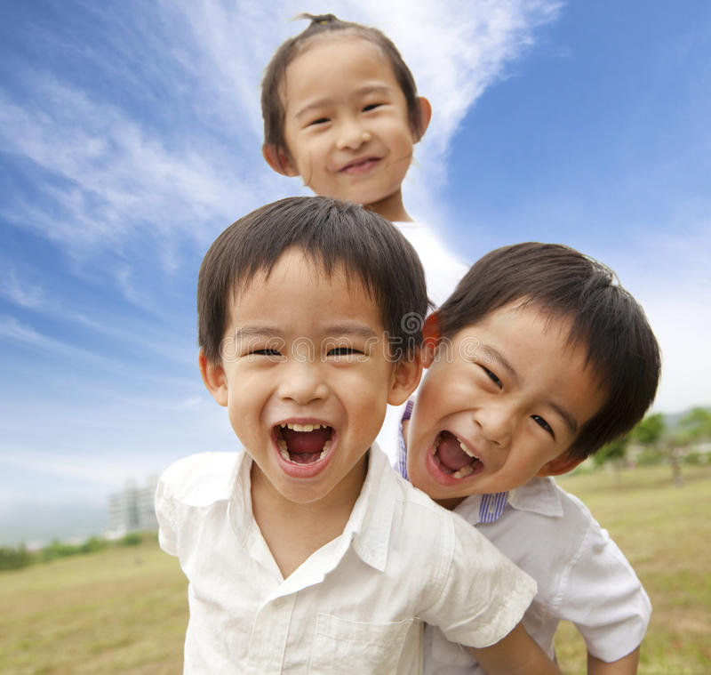 Portrait of happy kids. Outdoor stock image