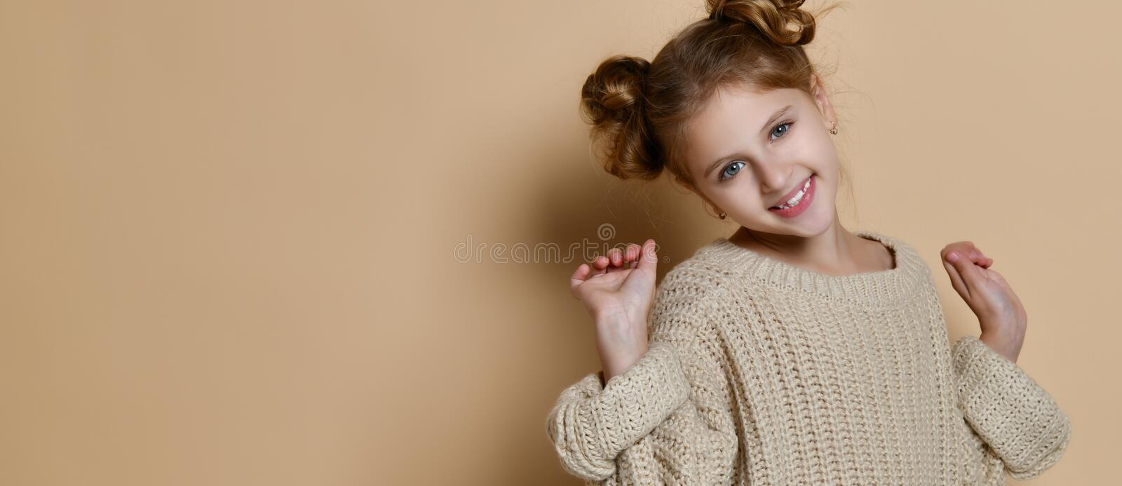 Portrait of a happy laughing child girl stock photo