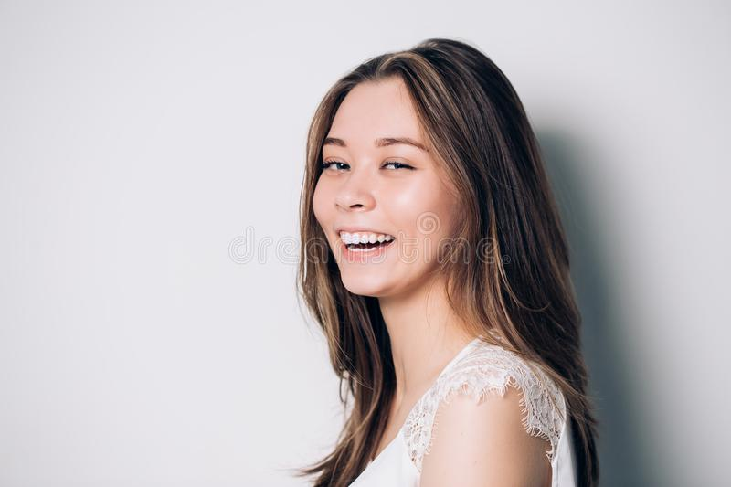Portrait of a happy laughing woman royalty free stock photos