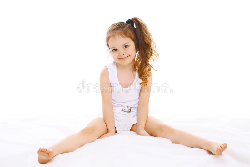 Portrait of happy little girl child. Having fun stock image