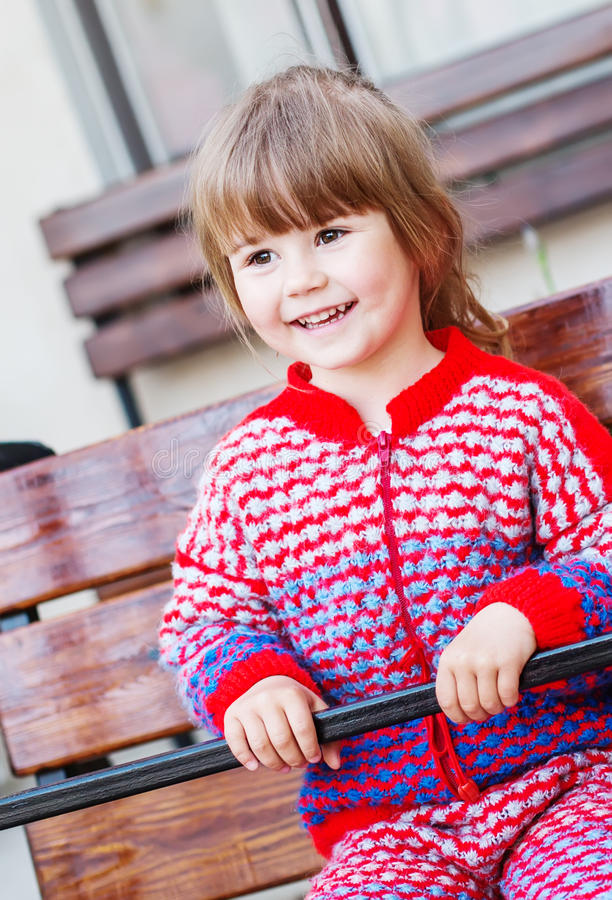 Portrait of a happy little girl stock photo