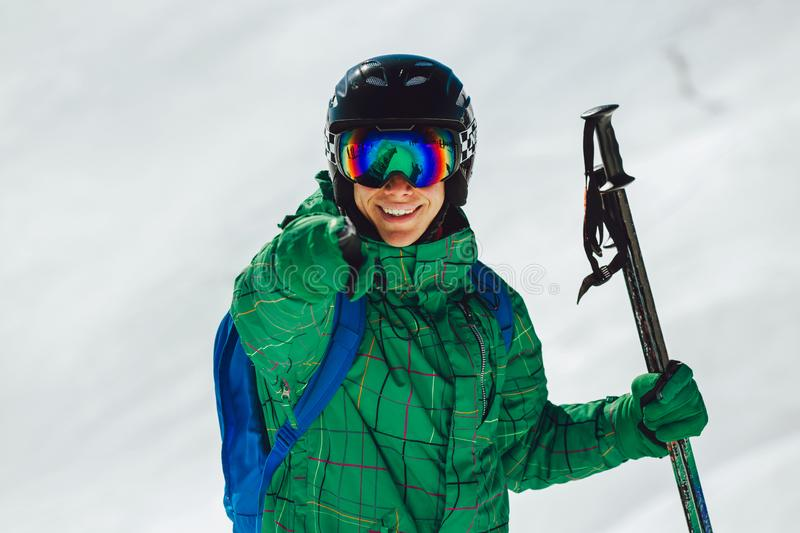 Portrait of a happy male skier royalty free stock image