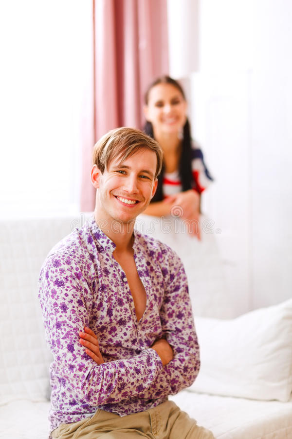 Portrait of happy man and girlfriend in background royalty free stock images