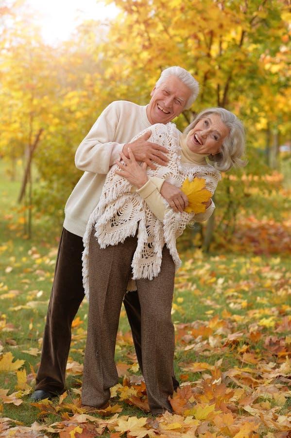 Portrait of happy mature couple posing outdoors in autumn park. Happy mature couple posing outdoors in autumn park royalty free stock photography