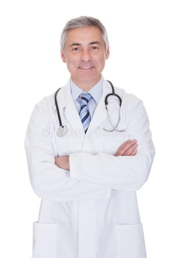 Portrait of happy mature male doctor stock photo