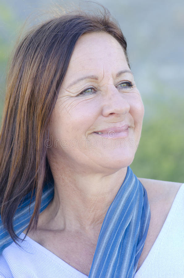 Portrait Happy mature woman park outdoor royalty free stock photography
