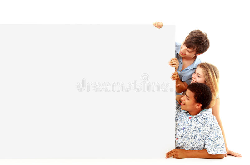Portrait of happy men and women stock image