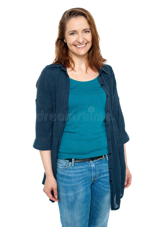 Portrait of a happy middle aged woman stock image