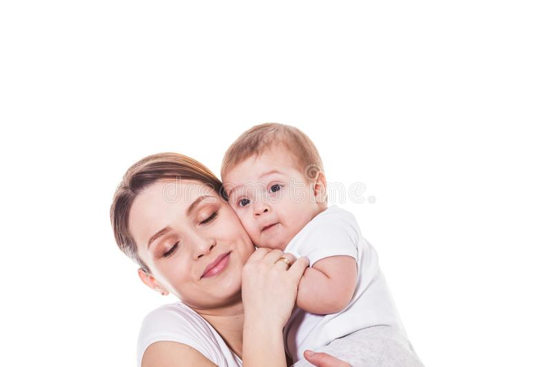 Portrait of happy mother and child royalty free stock photos