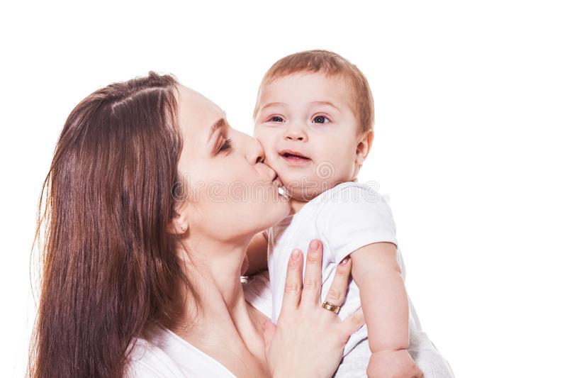 Portrait of happy mother and child on a white background stock image
