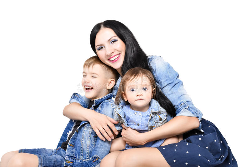 Portrait of a happy mother with her children stock photos