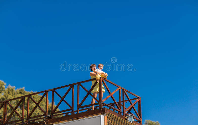 Portrait of happy mother and son outdoor stock images