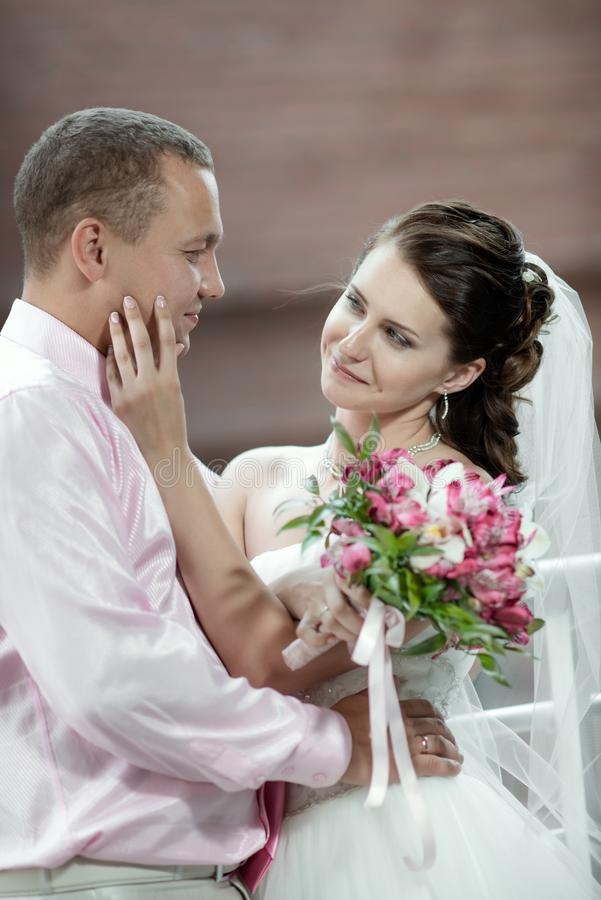 Portrait happy newly married couple royalty free stock image