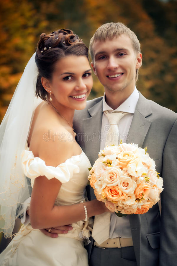 Portrait of happy newlyweds stock photos