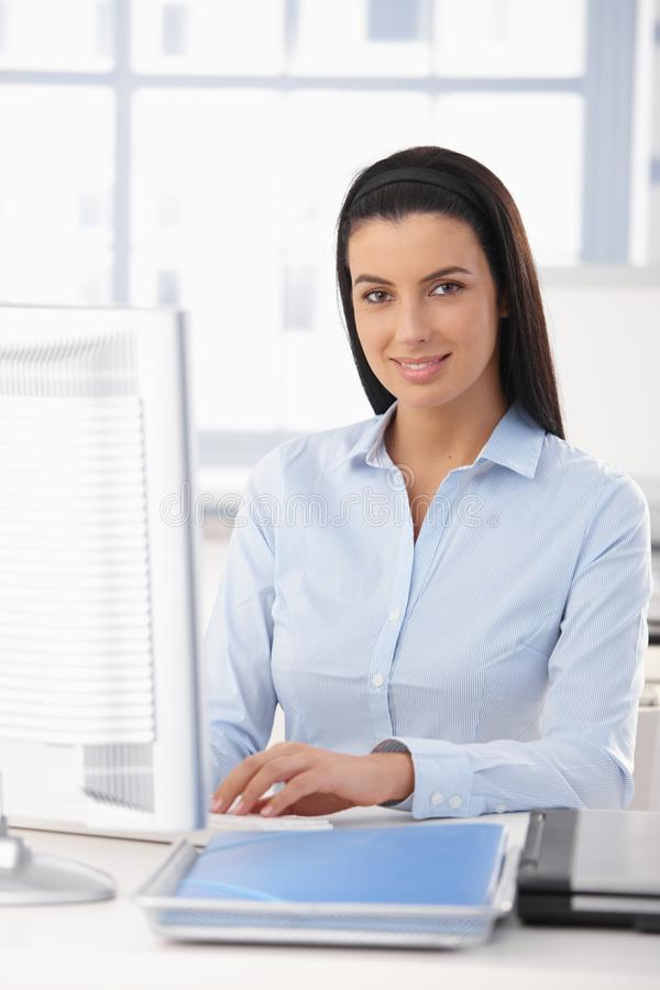 Portrait of happy office girl royalty free stock image