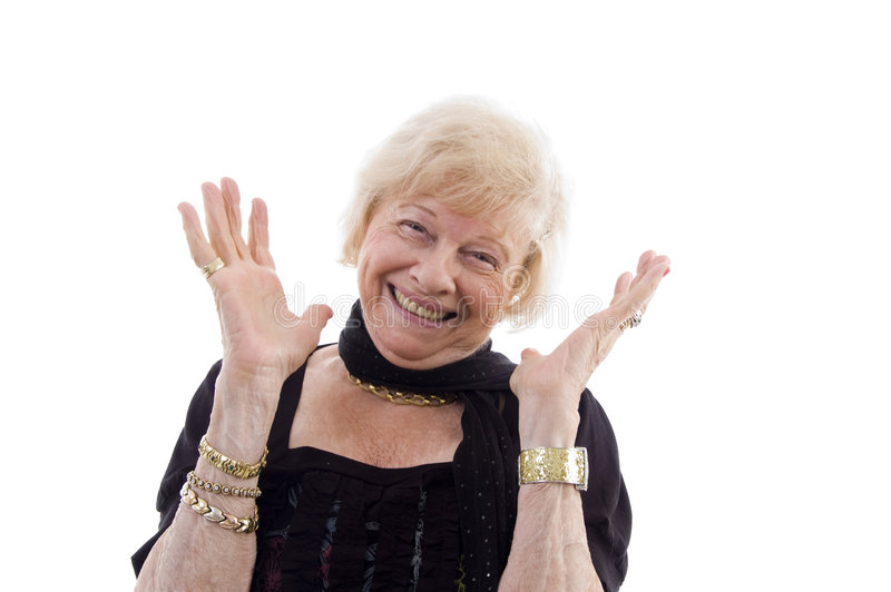 Portrait of happy old woman stock image
