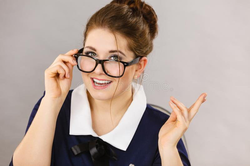 Happy positive business woman, accountant royalty free stock photography