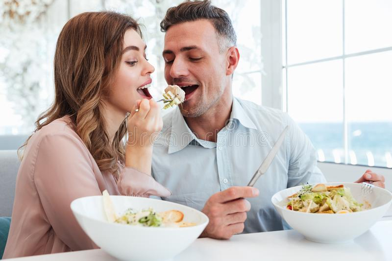 Portrait of happy romantic couple having dinner and eating salat together, while having lunch break in restaurant royalty free stock photography