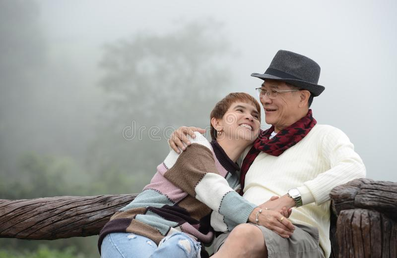 Portrait of happy romantic senior couples royalty free stock images