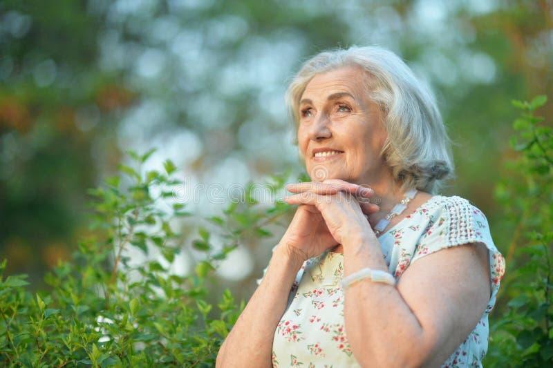 Portrait of happy senior beautiful woman in spring park. Happy senior beautiful woman in spring park looking away stock photos