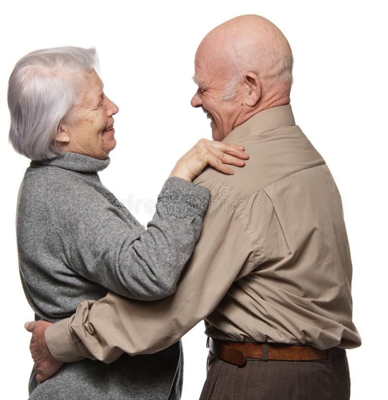 Download Portrait Of A Happy Senior Couple Embracing Stock Photo - Image of grandfather, isolated: 19608470