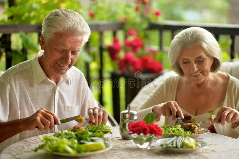 Portrait of happy senior couple having diner royalty free stock photography