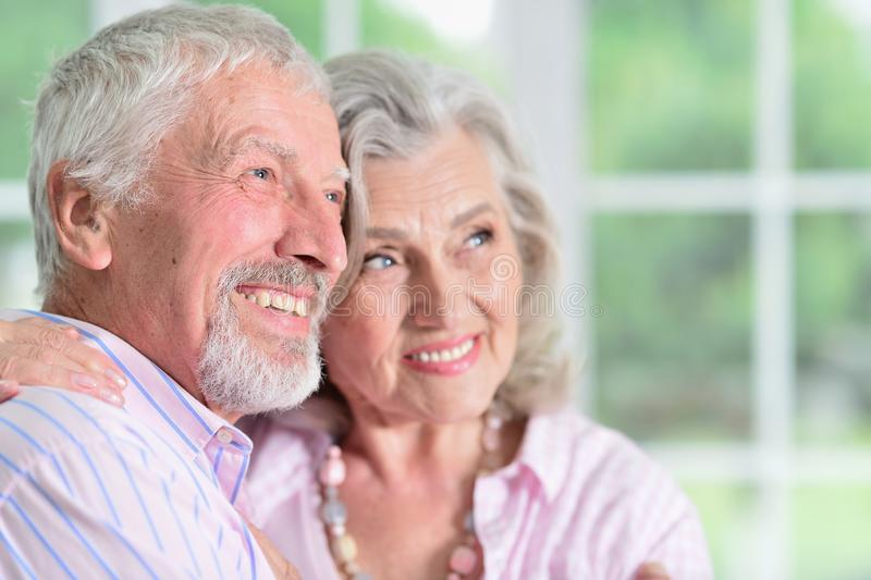 Portrait of happy senior couple at home royalty free stock image