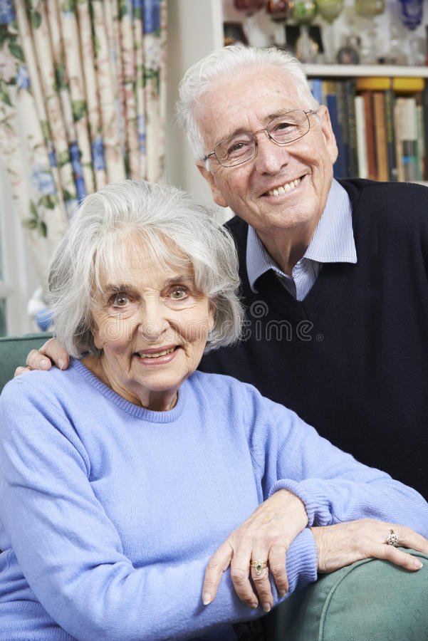 Portrait Of Happy Senior Couple At Home Together stock images