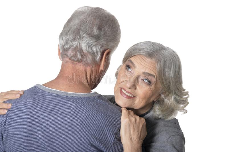 Close up portrait of happy senior couple. Portrait of happy senior couple isolated on white background stock photos