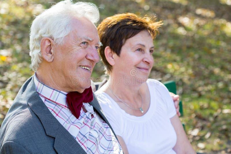 Portrait of happy senior couple stock photos