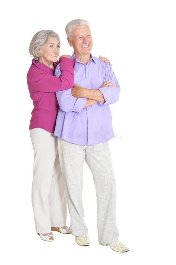 Portrait of happy senior couple on white background royalty free stock photography