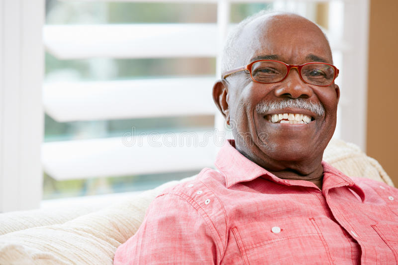Portrait Of Happy Senior Man At Home stock photos