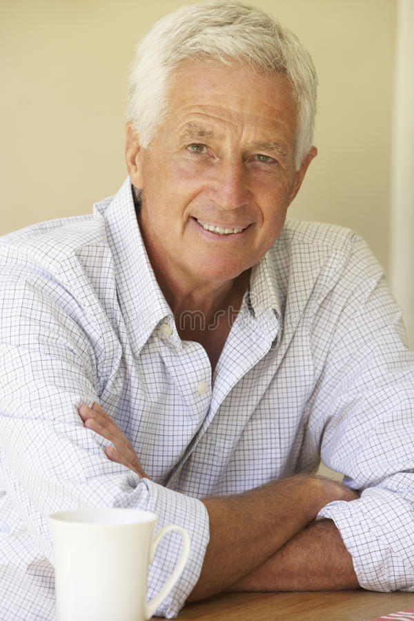 Portrait Of Happy Senior Man At Home stock photo