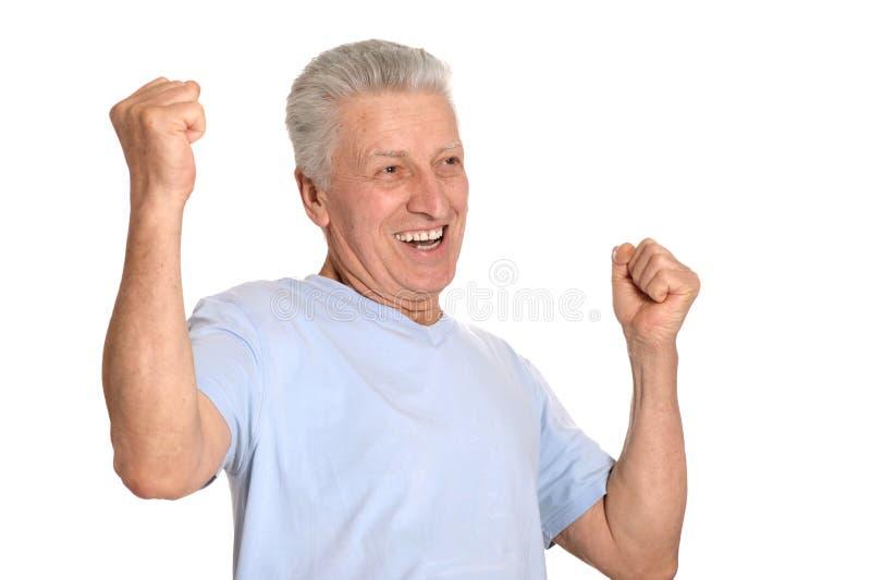 Portrait of happy senior man stock photos