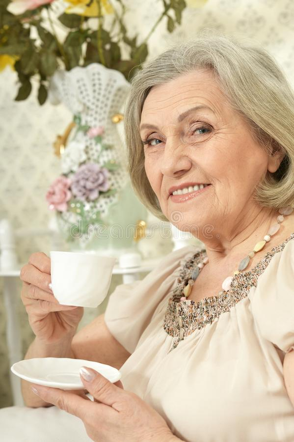 Portrait of happy senior woman drinking tea while resting at home royalty free stock images