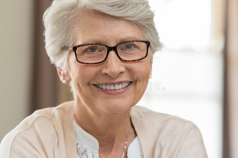 Senior woman wearing spectacles stock photos
