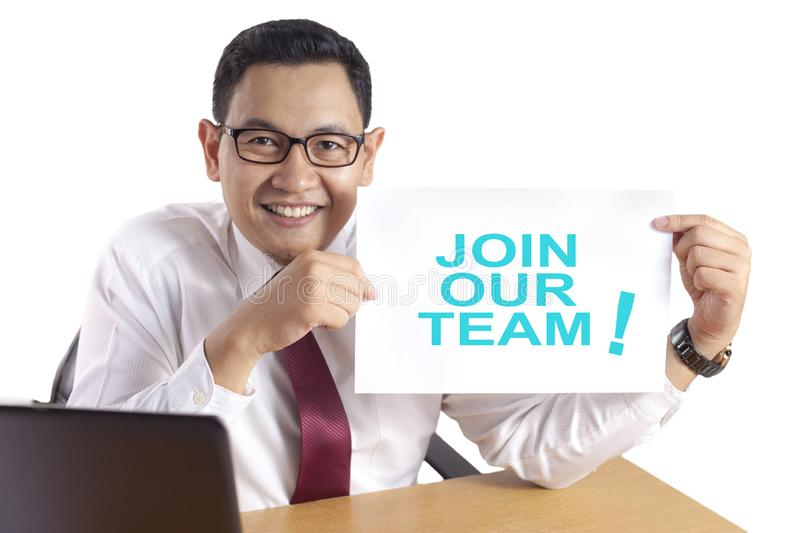 Businessman Shows Join Our Team Announcement stock images