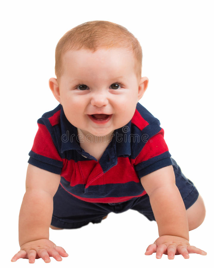 Portrait of happy smiling baby boy crawling stock photos