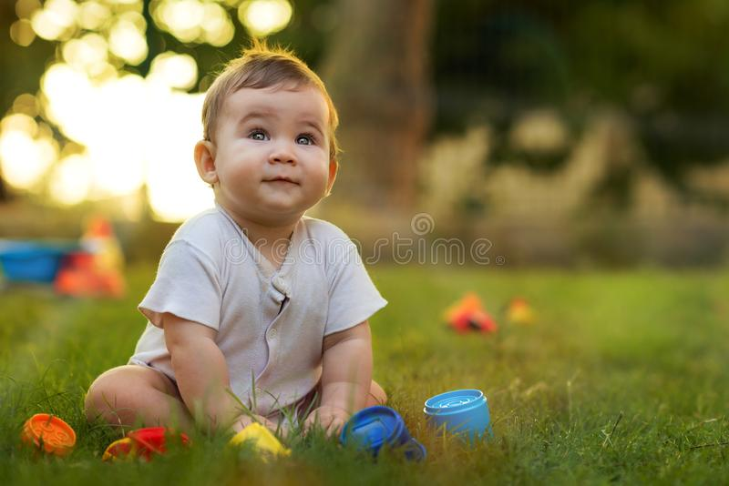 Portrait of Happy Smiling Baby Boy Playing with Toys stock images